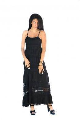 Μαύρο midi φόρεμα ραντάκι με ημιδιάφανες λεπτομέρειες