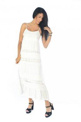 Λευκό midi φόρεμα ραντάκι με ημιδιάφανες λεπτομέρειες