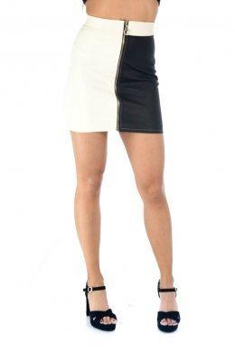 Δίχρωμη mini φούστα με φερμουάρ μπροστά σε όλο το μήκος της