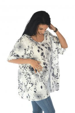 Φλοράλ μπλούζα πολύ φαρδιά με μεγάλα τσεπάκια μπροστά