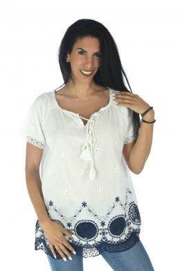 Μπλούζα κοντομάνικη με κεντήματα και δέσιμο στο μπούστο