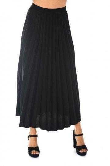 Μακριά πλισέ φούστα φαρδιά, με μαύρο λάστιχο στη μέση