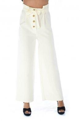 Ψηλόμεση παντελόνα καμπάνα με κουμπάκια μπροστά και ζωνάκι