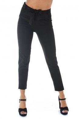 Μαύρο κρεπ παντελονι, μακρύ με τσεπάκια και ζωνάκι στη μέση