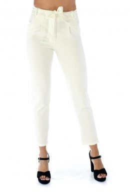 Λευκό κρεπ παντελονι, μακρύ με τσεπάκια και ζωνάκι στη μέση