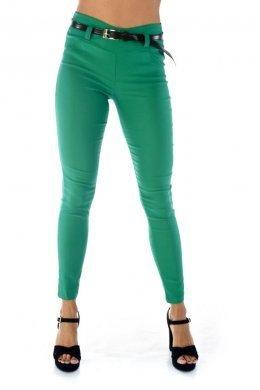 Πράσινο υφασμάτινο παντελόνι-κολάν, με ζωνάκι και τύπου μπάσκα