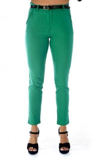 Πράσινο ελαστικό παντελόνι γραφείου, με τσεπάκια και ζωνάκι