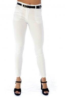 Λευκό ελαστικό παντελόνι γραφείου, με τσεπάκια και ζωνάκι