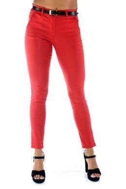 Κόκκινο ελαστικό παντελόνι γραφείου, με τσεπάκια και ζωνάκι
