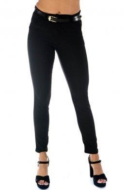 Μαύρο ελαστικό παντελόνι γραφείου, με τσεπάκια και ζωνάκι