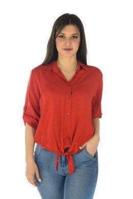 1b3c46b8d5ee Μονόχρωμο πουκάμισο με δέσιμο μπροστά στο τελείωμα
