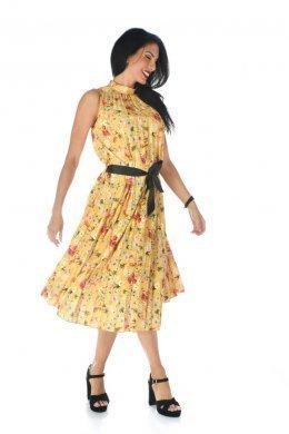 Midi πλισέ φόρεμα φλοράλ με μαύρο ζωνάκι/κορδέλα στη μέση