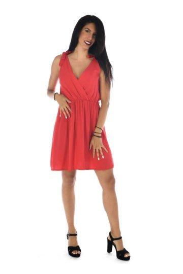 Φόρεμα κρουαζέ μονόχρωμο κοντό, με ραντάκια και λάστιχο στη μέση