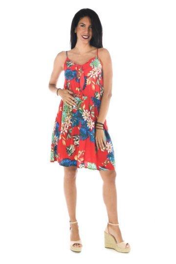 Κόκκινο φλοράλ φόρεμα κοντό με δέσιμο στο μπούστο και λάστιχο