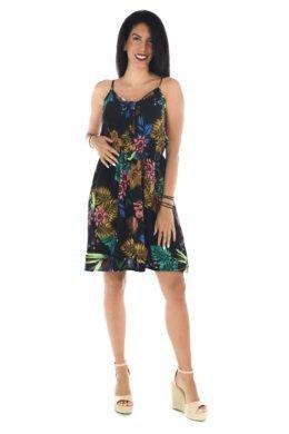 Μαύρο φλοράλ φόρεμα κοντό με δέσιμο στο μπούστο και λάστιχο