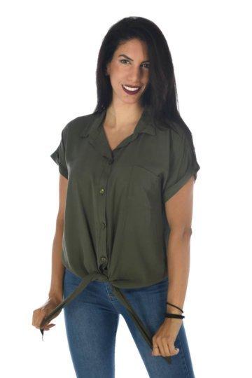 Μονόχρωμο πουκάμισο με δέσιμο μπροστά στο τελείωμα