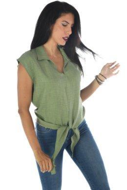 Αμάνικο τύπου λινό πουκάμισο με δέσιμο μπροστά στο τελείωμα