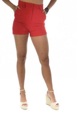 Κόκκινο υφασμάτινο ψηλόμεσο σορτσάκι, πολύ κοντό