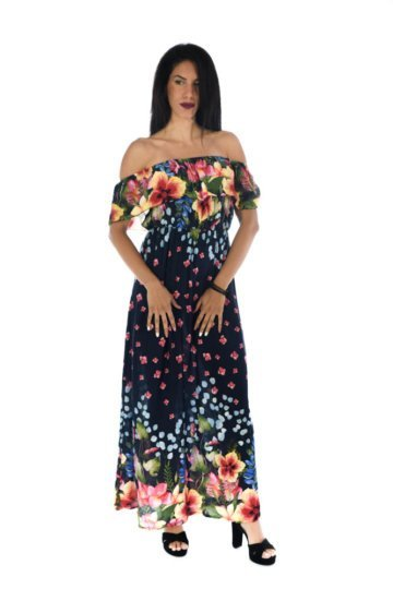 Φλοράλ μπλε φόρεμα με βολάν στο μπούστο και έξω τους ώμους