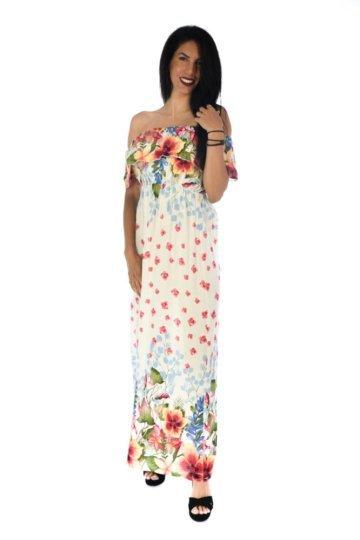 Φλοράλ λευκό φόρεμα με βολάν στο μπούστο και έξω τους ώμους