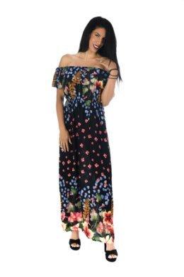 Φλοράλ μαύρο φόρεμα με βολάν στο μπούστο και έξω τους ώμους