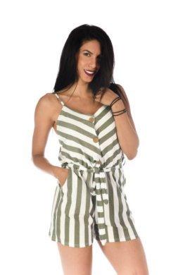 Ριγέ ολόσωμη φόρμα σορτζάκι με κουμπάκια στο μπούστο