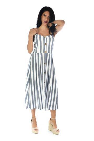 Midi φόρεμα με αρκετά χοντρές ρίγες, ραντάκι και καφέ κουμπάκια