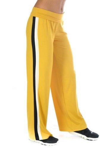 Μουσταρδί παντελόνα με διλή ρίγα στο πλάι σε μαύρο και λευκό χρώμα