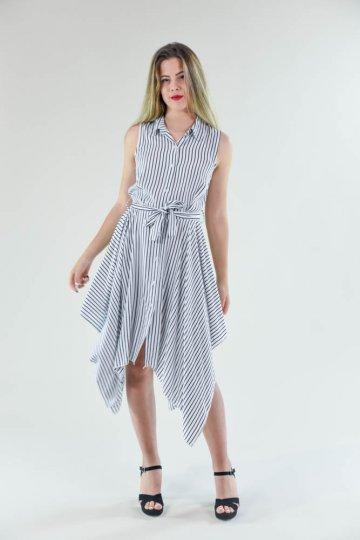 Ριγέ αμάνικο φόρεμα τύπου πουκάμισο, με ζωνάκι στη μέση