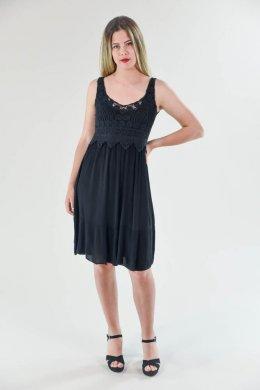 Μονόχρωμο φόρεμα με πλεκτό μπούστο και τύπου βολάν στο τελείωμα