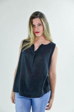 Μονόχρωμο αμάνικο πουκάμισο με πιέτα τύπου λινό, ασύμμετρο