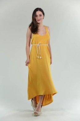 Ασύμμετρο μακρύ φόρεμα με αθλητική πλάτη και ζωνάκι στη μέση