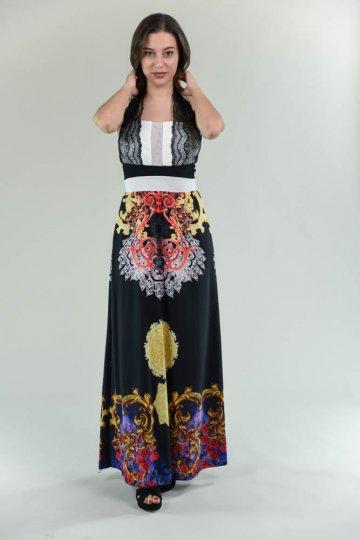 Επίσημο μακρύ φόρεμα εμπριμέ με δαντελωτή λεπτομέρεια