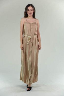 Μακρύ μονόχρωμο φόρεμα με κουμπάκια μπροστά