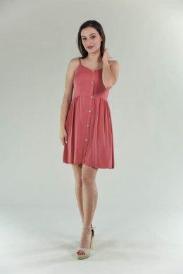 Mini φόρεμα ραντάκι μεσάτο με καφέ κουμπάκια μπροστά