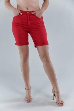 Κόκκινο φασμάτινο παντελόνι βερμούδα, με κούμπωμα και τσεπάκια