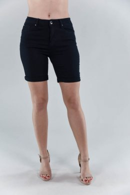 Μαύρο υφασμάτινο παντελόνι βερμούδα, με κούμπωμα και τσεπάκια
