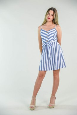 Mini φόρεμα με αρκετά χοντρές ρίγες, ζωνάκι και καφέ κουμπάκια