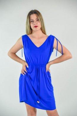 Μονόχρωμο μεσάτο φόρεμα mini με λεπτομέρειες κορδόνια