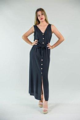 Μακρύ αμάνικο φόρεμα με κουμπάκια μπροστά και ζώνη