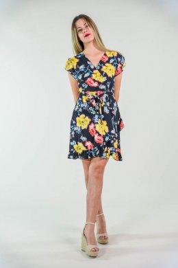 Μαυρό mini κρουαζέ φόρεμα με φλοράλ σχέδια και ζωνάκι
