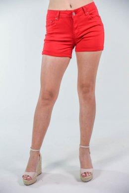 Κόκκινο τζιν κοντό σορτσάκι πεντάτσεπο, με κουμπάκι και φερμουάρ