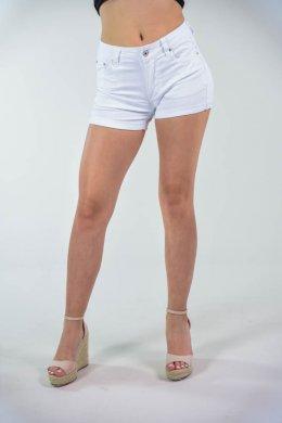 Λευκό τζιν κοντό σορτσάκι πεντάτσεπο, με κουμπάκι και φερμουάρ