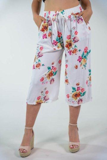 Λευκό φλοράλ κάπρι παντελόνι υφάσματινο, με κορδονάκι