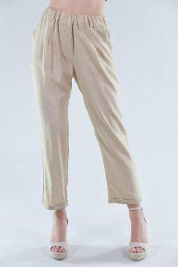 Μπεζ κάπρι παντελόνι τύπου λινό, με λάστιχο στη μέση