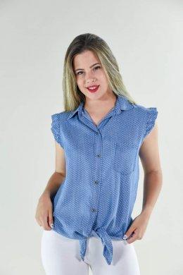 Ίντιγκο αμάνικο πουά πουκάμισο με δέσιμο μπροστά