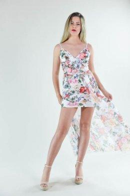 Φλοράλ φόρεμα mini με ουρά και σκίσιμο μπροστά