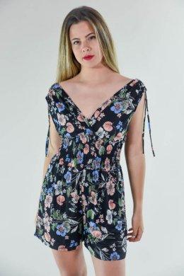Μαύρη φλοράλ κρουαζέ ολόσωμη φόρμα σορτσάκι