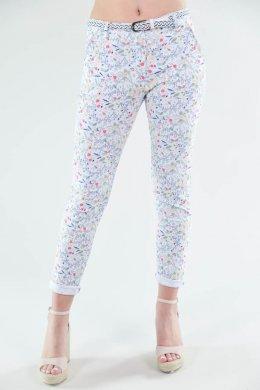 Παντελόνι με πολύχρωμα λουλούδια υφασμάτινο με τσεπάκια