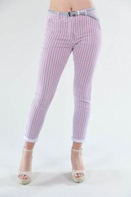 Τρίχρωμο κόκκινο ριγέ παντελόνι υφασμάτινο με τσεπάκια